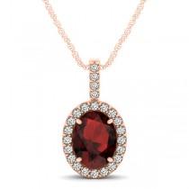 Garnet & Diamond Halo Oval Pendant Necklace 14k Rose Gold (1.17ct)