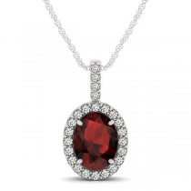 Garnet & Diamond Halo Oval Pendant Necklace 14k White Gold (1.17ct)