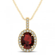 Garnet & Diamond Halo Oval Pendant Necklace 14k Yellow Gold (1.17ct)