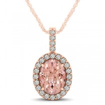 Pink Morganite & Diamond Halo Oval Pendant Necklace 14k Rose Gold (2.82ct)