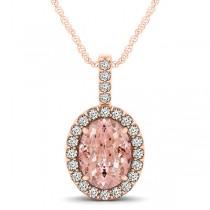 Pink Morganite & Diamond Halo Oval Pendant Necklace 14k Rose Gold (2.82ct)