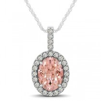 Pink Morganite & Diamond Halo Oval Pendant Necklace 14k White Gold (2.82ct)