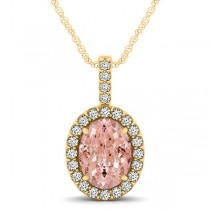 Pink Morganite & Diamond Halo Oval Pendant Necklace 14k Yellow Gold (2.82ct)
