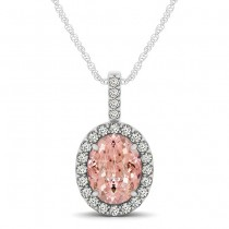 Pink Morganite & Diamond Halo Oval Pendant Necklace 14k White Gold (1.27ct)