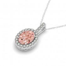 Pink Morganite & Diamond Halo Oval Pendant Necklace 14k White Gold (1.27ct)|escape