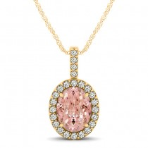 Pink Morganite & Diamond Halo Oval Pendant Necklace 14k Yellow Gold (1.27ct)