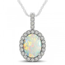 Opal & Diamond Halo Oval Pendant Necklace 14k White Gold (1.90ct)