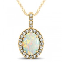 Opal & Diamond Halo Oval Pendant Necklace 14k Yellow Gold (1.90ct)