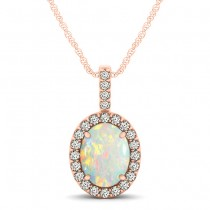 Opal & Diamond Halo Oval Pendant Necklace 14k Rose Gold (0.64ct)