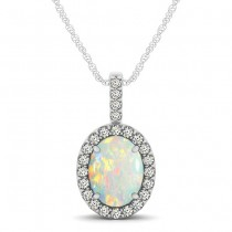 Opal & Diamond Halo Oval Pendant Necklace 14k White Gold (0.64ct)