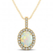 Opal & Diamond Halo Oval Pendant Necklace 14k Yellow Gold (0.64ct)