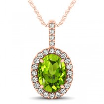 Peridot & Diamond Halo Oval Pendant Necklace 14k Rose Gold (2.47ct)