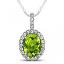 Peridot & Diamond Halo Oval Pendant Necklace 14k White Gold (2.47ct)