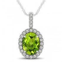 Peridot & Diamond Halo Oval Pendant Necklace 14k White Gold (2.47ct)