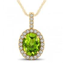 Peridot & Diamond Halo Oval Pendant Necklace 14k Yellow Gold (2.47ct)