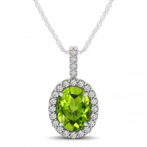 Peridot & Diamond Halo Oval Pendant Necklace 14k White Gold (1.12ct)