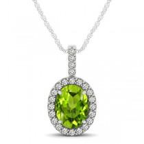 Peridot & Diamond Halo Oval Pendant Necklace 14k White Gold (1.12ct)