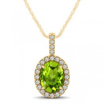 Peridot & Diamond Halo Oval Pendant Necklace 14k Yellow Gold (1.12ct)