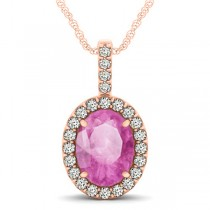 Pink Sapphire & Diamond Halo Oval Pendant Necklace 14k Rose Gold (3.37ct)