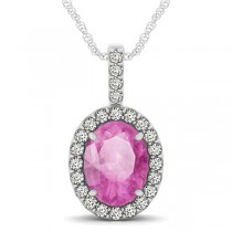 Pink Sapphire & Diamond Halo Oval Pendant Necklace 14k White Gold (3.37ct)