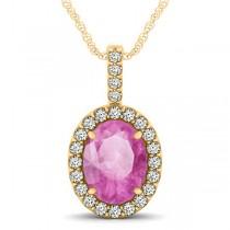 Pink Sapphire & Diamond Halo Oval Pendant Necklace 14k Yellow Gold (3.37ct)