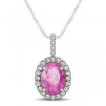 Pink Sapphire & Diamond Halo Oval Pendant Necklace 14k White Gold (1.17ct)
