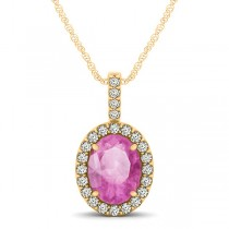 Pink Sapphire & Diamond Halo Oval Pendant Necklace 14k Yellow Gold (1.17ct)