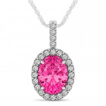 Pink Tourmaline & Diamond Halo Oval Pendant Necklace 14k White Gold (3.02ct)