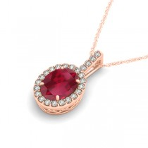 Ruby & Diamond Halo Oval Pendant Necklace 14k Rose Gold (3.37ct)