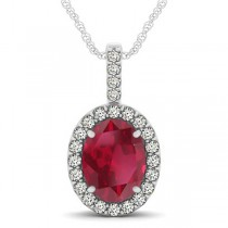 Ruby & Diamond Halo Oval Pendant Necklace 14k White Gold (3.37ct)