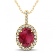 Ruby & Diamond Halo Oval Pendant Necklace 14k Yellow Gold (3.37ct)
