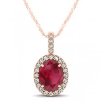 Ruby & Diamond Halo Oval Pendant Necklace 14k Rose Gold (1.23ct)