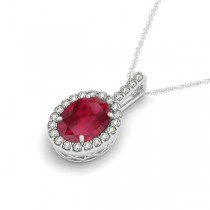 Ruby & Diamond Halo Oval Pendant Necklace 14k White Gold (1.23ct)