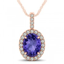 Tanzanite & Diamond Halo Oval Pendant Necklace 14k Rose Gold (3.37ct)