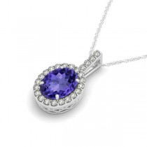 Tanzanite & Diamond Halo Oval Pendant Necklace 14k White Gold (3.37ct)