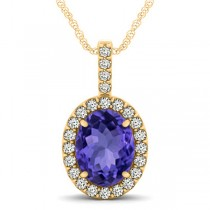 Tanzanite & Diamond Halo Oval Pendant Necklace 14k Yellow Gold (3.37ct)