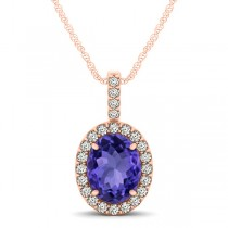 Tanzanite & Diamond Halo Oval Pendant Necklace 14k Rose Gold (1.06ct)