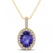 Tanzanite & Diamond Halo Oval Pendant Necklace 14k Yellow Gold (1.06ct)