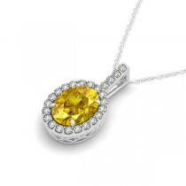 Yellow Sapphire & Diamond Halo Oval Pendant Necklace 14k White Gold (3.37ct)