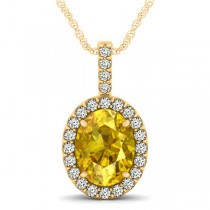 Yellow Sapphire & Diamond Halo Oval Pendant Necklace 14k Yellow Gold (3.37ct)