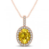 Yellow Sapphire & Diamond Halo Oval Pendant Necklace 14k Rose Gold (1.17ct)