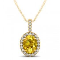 Yellow Sapphire & Diamond Halo Oval Pendant Necklace 14k Yellow Gold (1.17ct)