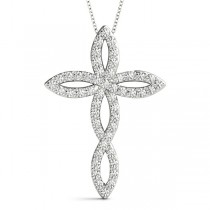 Swirl Cross Diamond Pendant Necklace 14k White Gold (1.00ct)