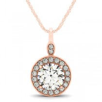 Round Diamond Halo Pendant Necklace 14k Rose Gold (1.80ct)