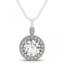 Round Diamond Halo Pendant Necklace 14k White Gold (1.80ct)