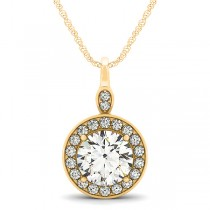 Round Diamond Halo Pendant Necklace 14k Yellow Gold (1.80ct)