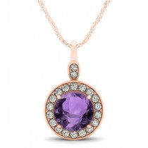 Round Amethyst & Diamond Halo Pendant Necklace 14k Rose Gold (1.80ct)