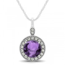 Round Amethyst & Diamond Halo Pendant Necklace 14k White Gold (1.80ct)