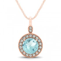 Round Aquamarine & Diamond Halo Pendant Necklace 14k Rose Gold (2.22ct)