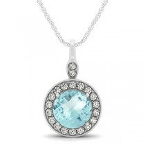 Round Aquamarine & Diamond Halo Pendant Necklace 14k White Gold (2.22ct)